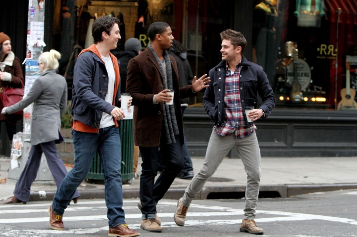 "Zac Efron films scenes for ""Are We Officially Dating?"" with co-stars Miles Teller and Michael B. Jordan in New York City"