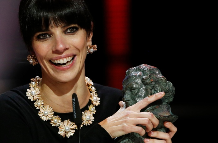 Maribel Verdu reacts after receiving her award for Best Actress during the Spanish Film Academy's Goya awards ceremony in Madrid