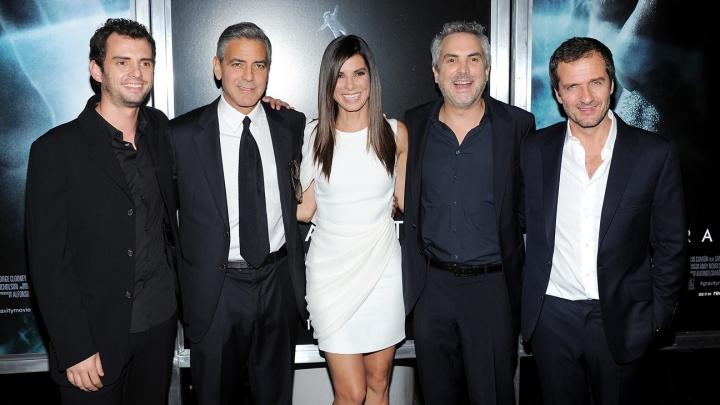 Jonas Cuaron, George Clooney, Sandra Bullock, Alfonso Cuaron, David Heyman