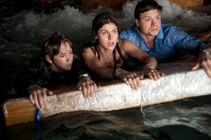 "This photo provided by Warner Bros. Pictures shows, from left, Art Parkinson as Ollie, Alexandra Daddario as Blake, and Hugo Johnstone-Burt as Ben, in a scene from the action thriller, ""San Andreas."" The movie releases in theaters on May 29, 2015.  (Jasin Boland/Warner Bros. Pictures via AP)"