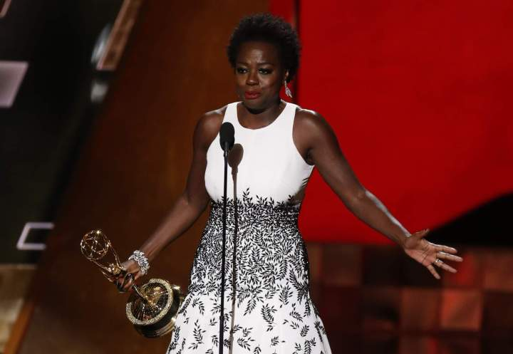 "Viola Davis accepts the award for Outstanding Lead Actress In A Drama Series for her role in ABC's ""How To Get Away With Murder"" at the 67th Primetime Emmy Awards in Los Angeles, California September 20, 2015.  REUTERS/Lucy Nicholson - RTS230J"